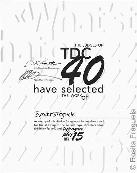 Auszeichnung – Eine typografische Studienarbeit von mir wurde 1993 vom Type Directors Club (TDC) in New York ausgezeichnet