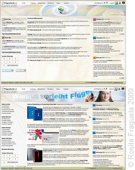 """Meine Website 2009, absolute Barrierefreiheit, 3 Farbschemen: """"Hell"""", """"Grau"""" und """"Negativ"""""""