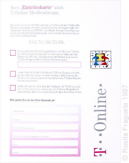 """Fax-Formular für die Aktion """"T-Online Medienforum"""""""