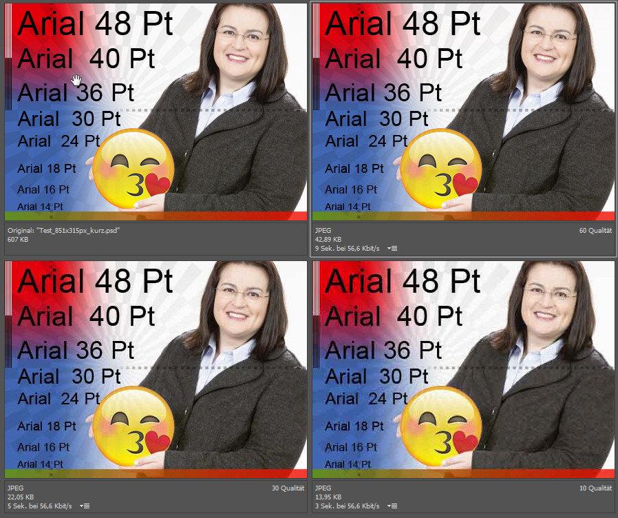 Oben links das Original, o. r. JPEG Hoch, u. l. JPEG Mittel, u. r. JPEG Niedrig