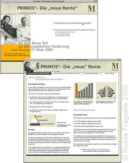 """Webdesign: Microsite für die Mannheimer Versicherungen Finanzprodukt PRIMOS – Die """"neue Rente"""""""