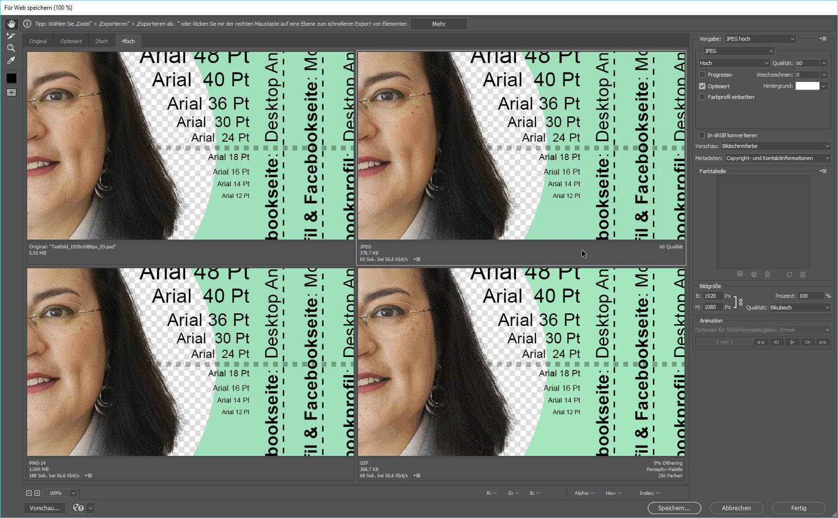 Im Vergleich: Oben links das Original, oben rechts die JPG, unten Links eine PNG, unten rechts eine GIF