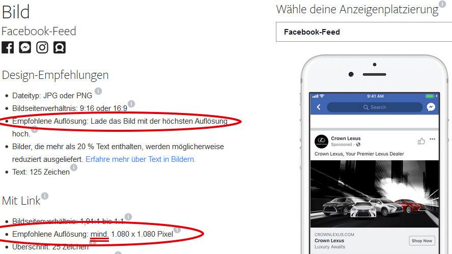 Korrekte Größe für Bilder im Facebook-Feed in Pixel, richtige Breite x Höhe und empfohlende Auflösung.