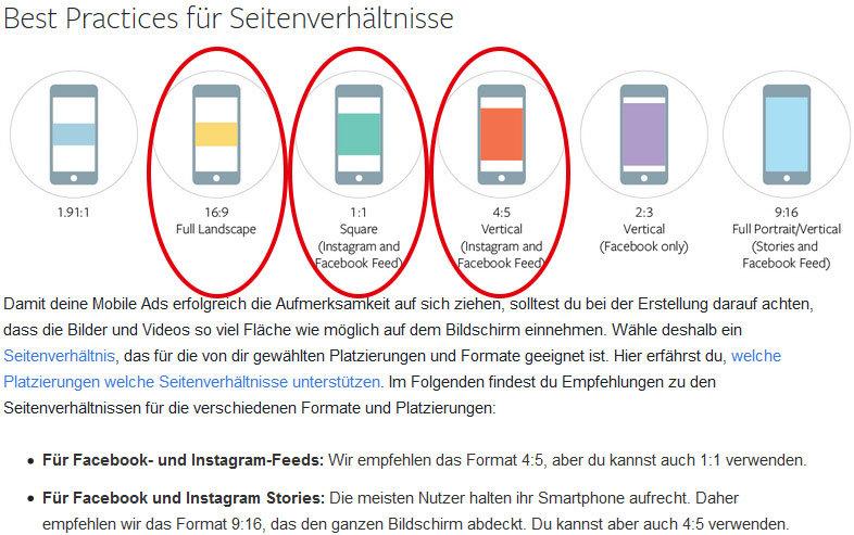 Facebook leistet echte Hilfestellung bei der Wahl von den bestmöglichen Seitenverhältnissen für Anzeigen (Ads).