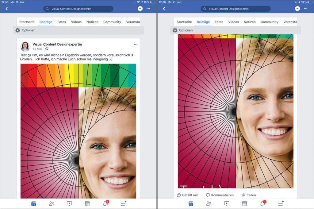 Tablet: Das Facebook Bild im Newsfeed, Hochformat, senktrecht, Bildgröße in Pixel, ohne zu scrollen. Größe (Breite x Höhe).