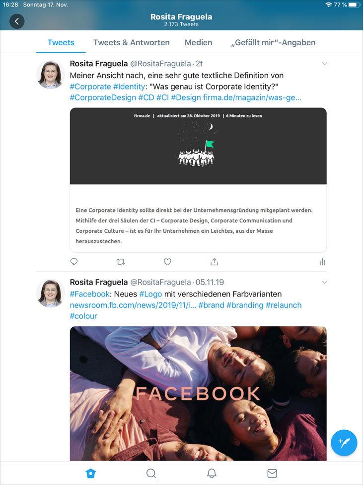 Twitter App, Tablet – Vertikale Ausrichtung, Profil, Timeline, minimiertes Titelbild (nur ein kleiner Auschnitt davon) mit Weichzeichnung.