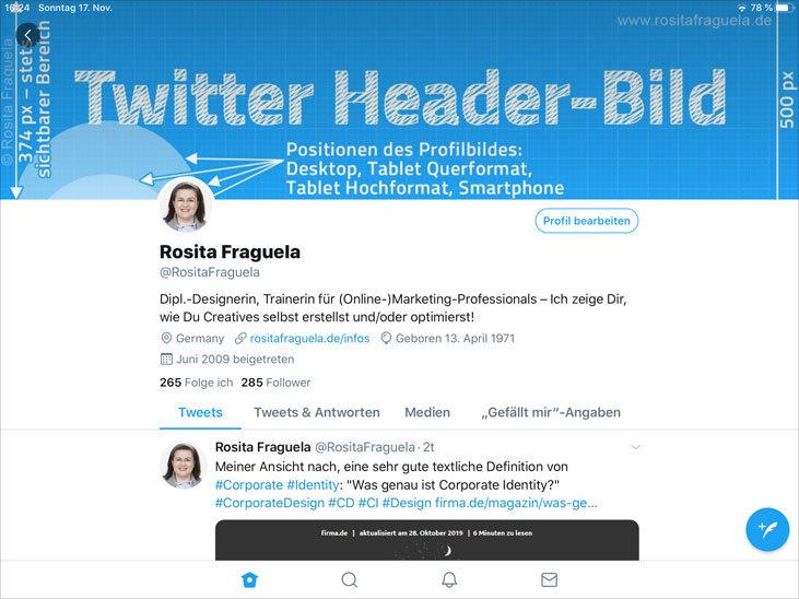 Twitter App, horizontale Ausrichtung – Das Profilbild wird sehr klein angezeigt.