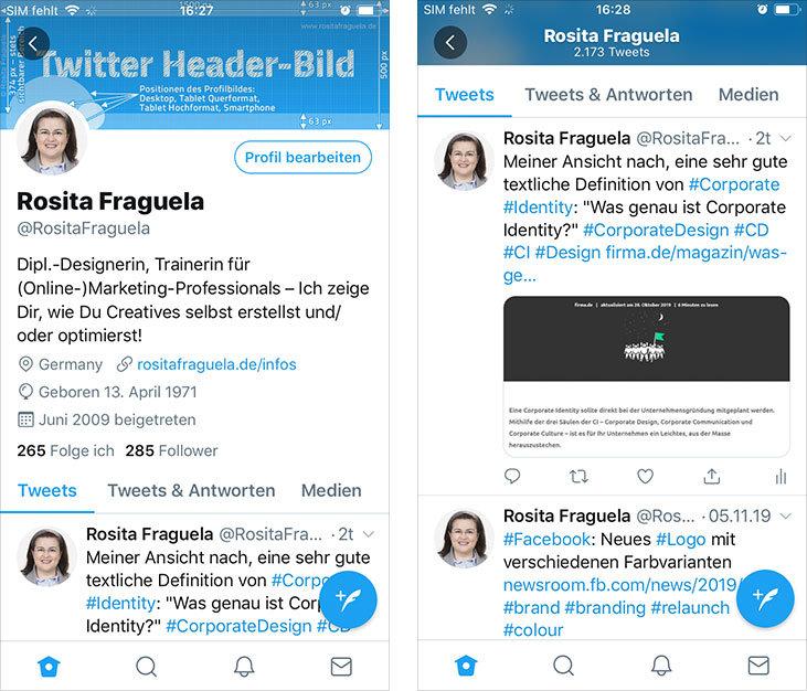 Twitter App auf dem iPhone: Das Twitter Header-Bild in maximaler Darstellung