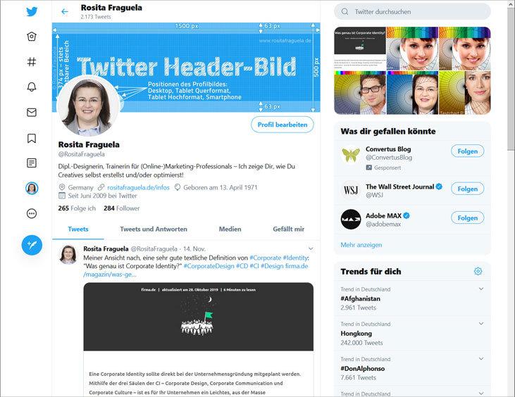 Twitter Profil – Desktop Ansicht, banner bzw. Titelbild und Profilbild