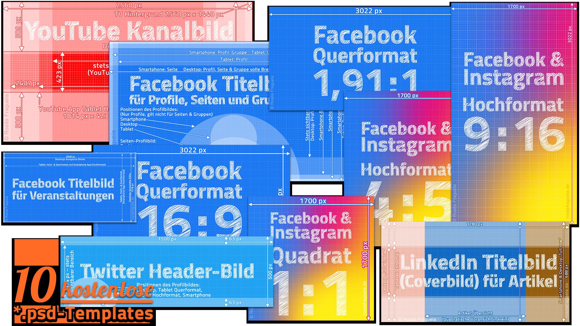 10 kostenlose Social Media Templates für Facebook, Instagram, Youtube, Twitter und LinkedIn