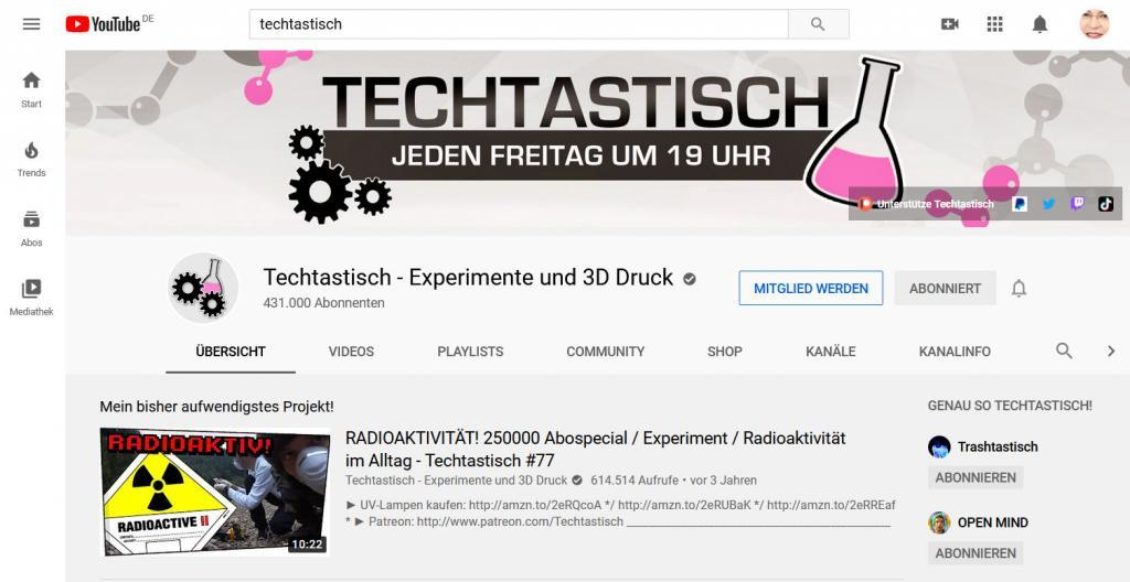 YouTube Kanalbild mit Ankündigung, wichtige Information für zukünftige Abonnenten