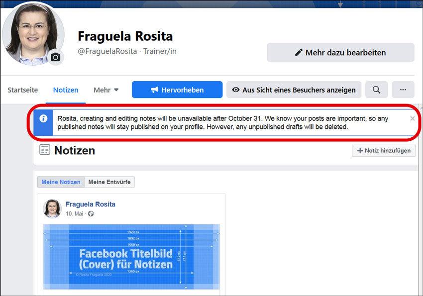 Zukünftig unterstützt Facebook nicht mehr das Format Notizen