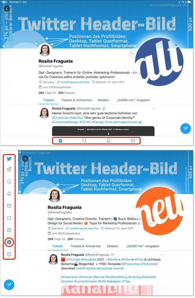 Tablet Querformat Twitter App 2021 Header-Bild Titelbild
