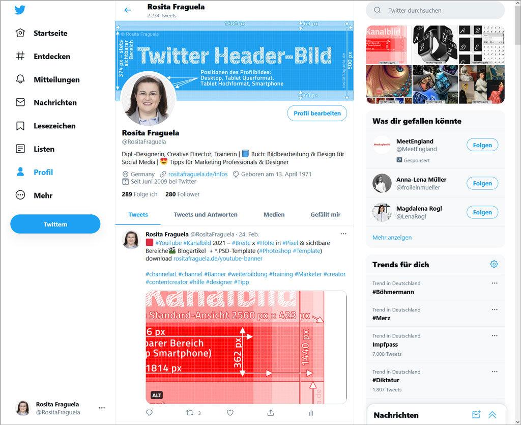 Userinterface Twitter 2021 Header Profilbild Interface