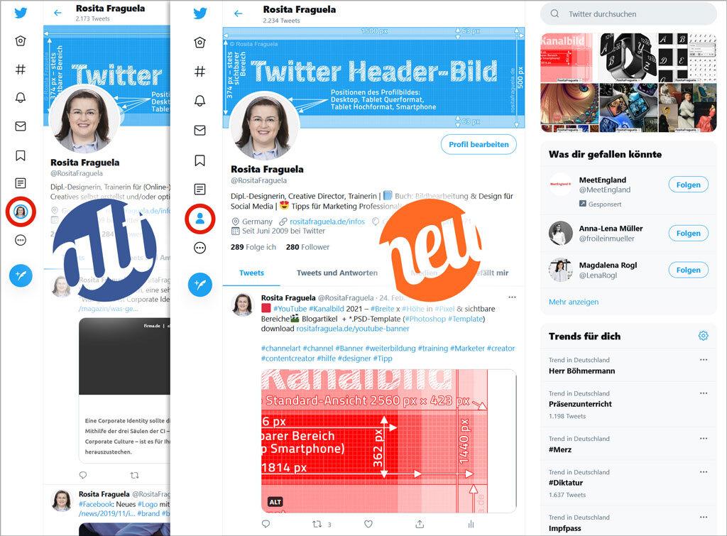Twitter Titelbild 2021 – Header und Profilbild 2020 im Vergleich zu 2021