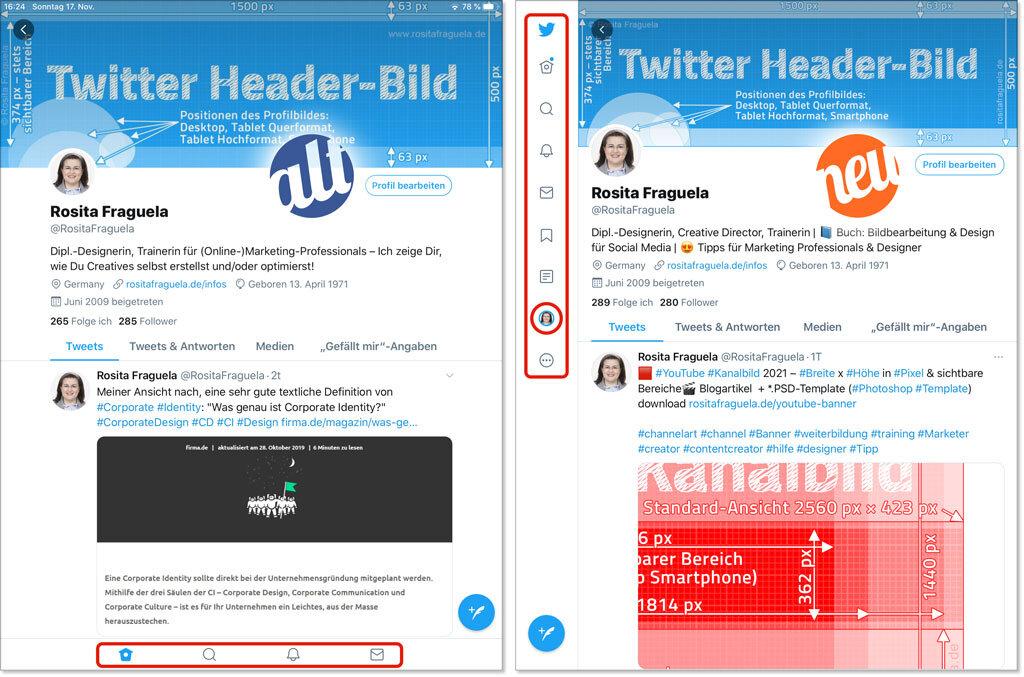 Twitter App iOS Profil 2021 – Design User Interface Header Titelbild Breit Höhe Training Social Media