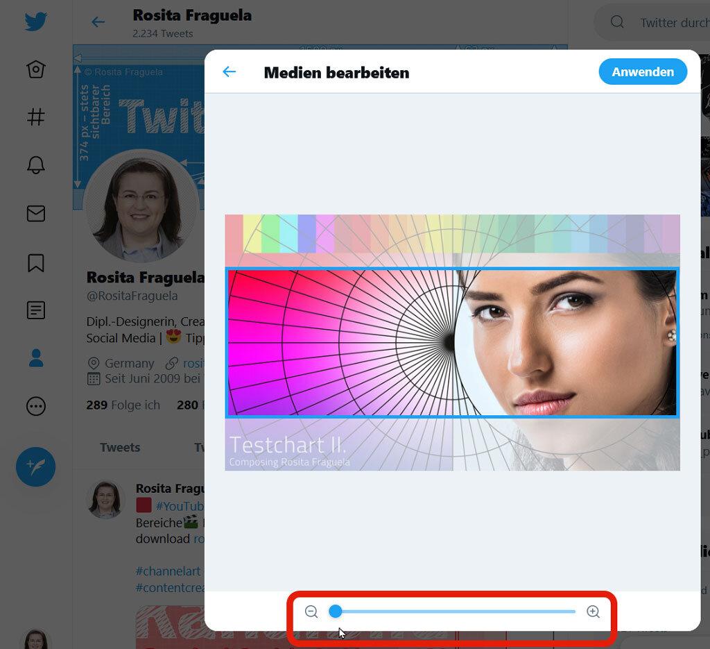 Profil bearbeiten: Twitter bringt die Bilder automatisch auf 1500 x 500 Pixel, daher lade nicht zu kleine Bilder hoch!