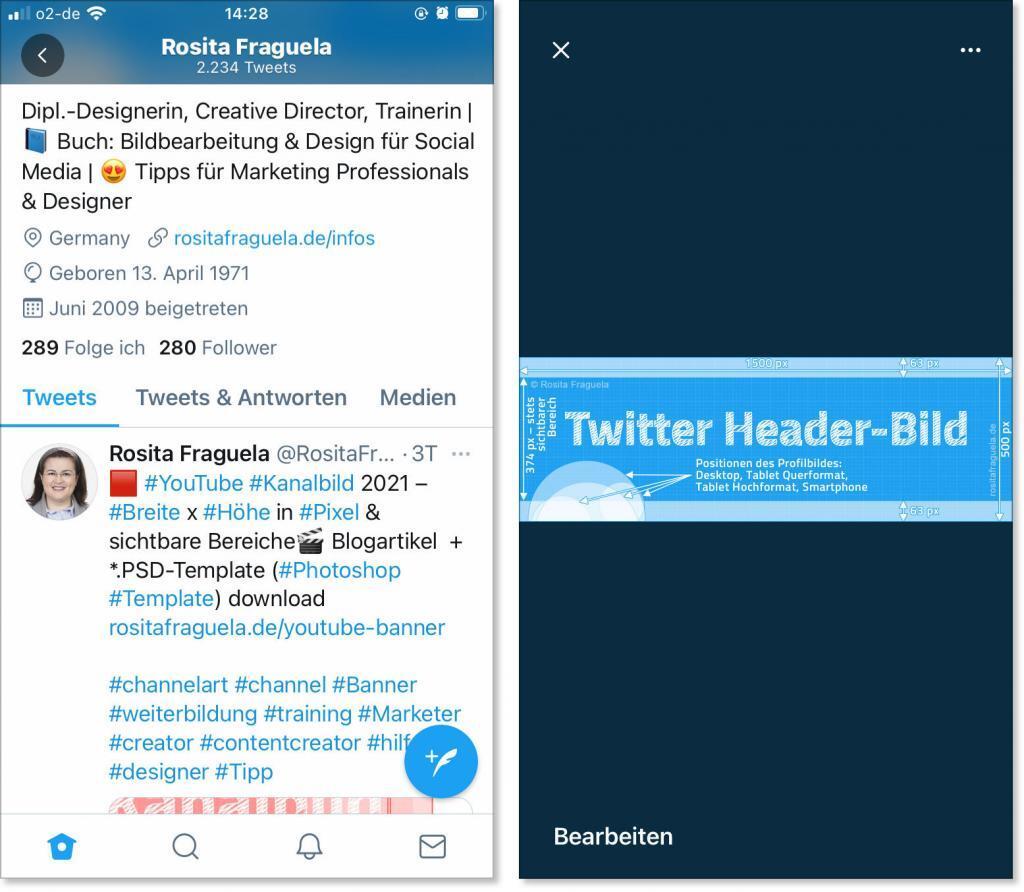 Smartphone Ansicht Twitter Profil 2021, Header-Bild minimiert und maximiert