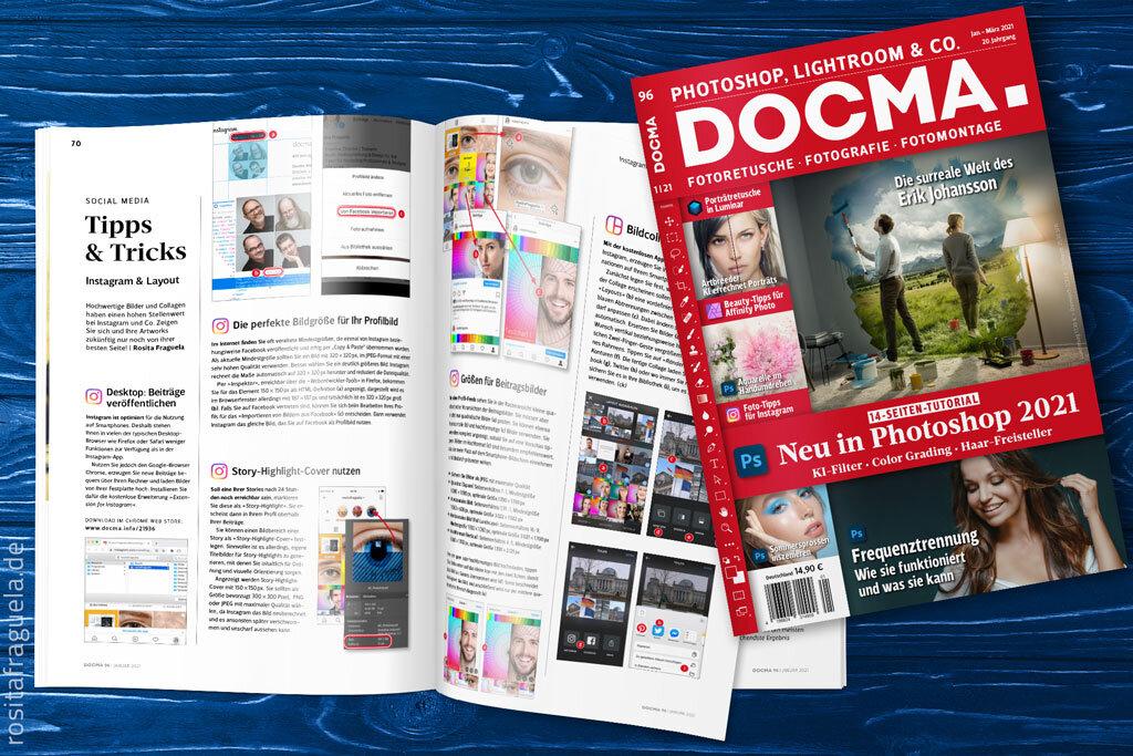 Photoshop Fachzeitschrift DOCMA – Tipps & Tricks Instagram 2021