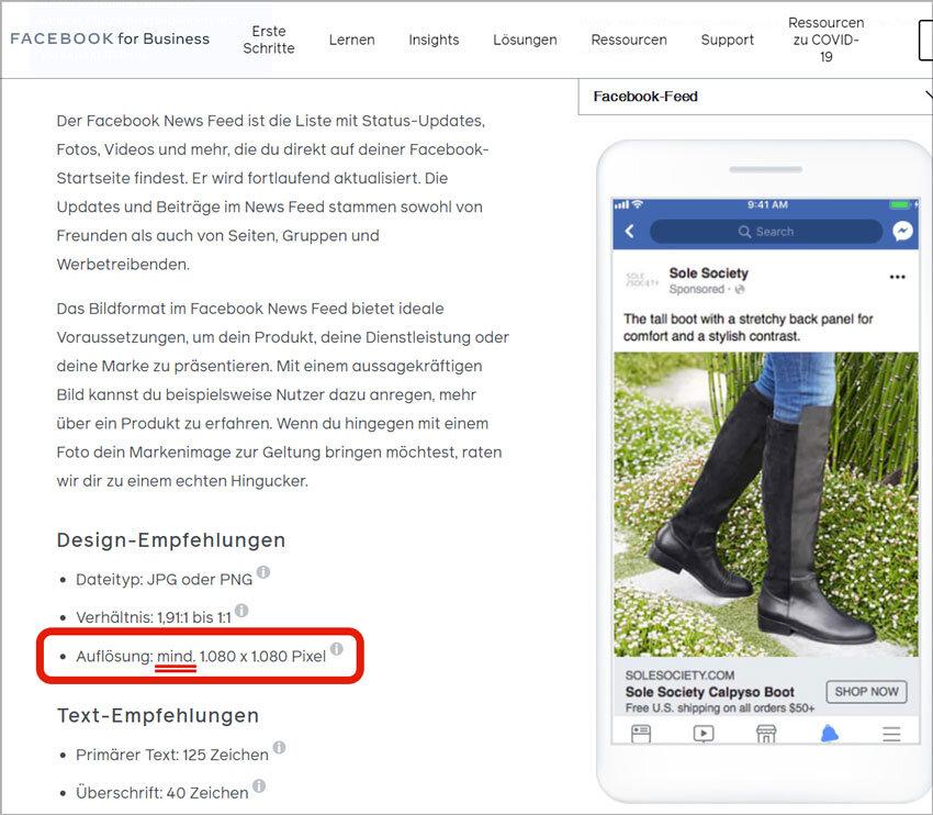 Facebook Business Design Empfehlung Bildgröße Auflösung Ad Creator Ads